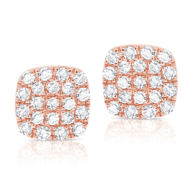 14K Rose Gold Diamond Small Petite Cushion Stud Earrings