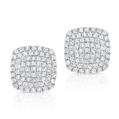 14K White Gold Diamond Cushion Stud Earrings