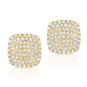14K Yellow Gold Diamond Cushion Stud Earrings