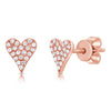 14K White Gold Diamond Elongated Heart Stud Earrings