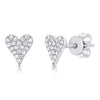 14K Yellow Gold Diamond Elongated Heart Stud Earrings