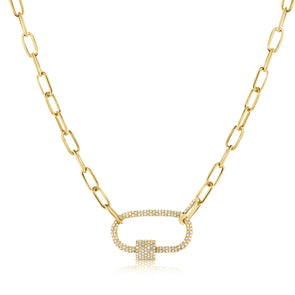 14K Yellow Gold Full Diamond Pave link Necklace