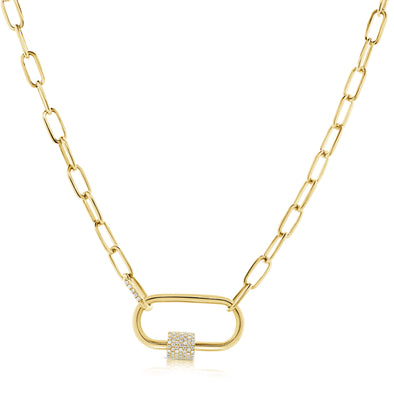 14K Diamond Clasp Open Link Necklace- opens to add charms