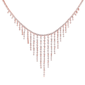 14K Rose Gold Dripping Diamond Necklace