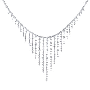 14K White Gold Dripping Diamond Necklace
