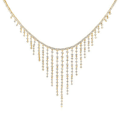 14K Yellow Gold Dripping Diamond Necklace