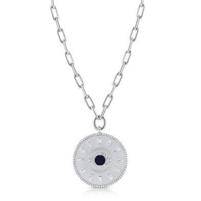 14K White Gold Diamond + Sapphire Evil Eye Coin Necklace