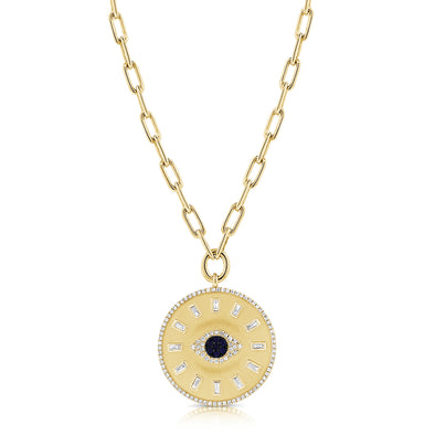 14K Yellow Gold Diamond + Sapphire Evil Eye Coin Necklace