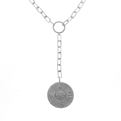 14K White Gold Diamond Open Link Compass Necklace