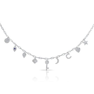 14K White Gold Diamond + Sapphire Charm Necklace