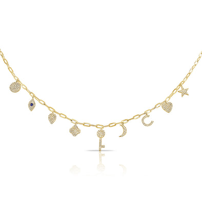 14K Yellow Gold Diamond + Sapphire Charm Necklace