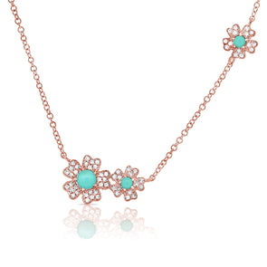 14K Rose Gold Diamond + Turquoise Flower Necklace