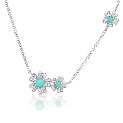 14K White Gold Diamond + Turquoise Flower Necklace
