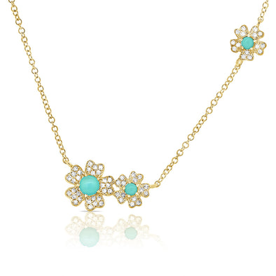14K Yellow Gold Diamond + Turquoise Flower Necklace