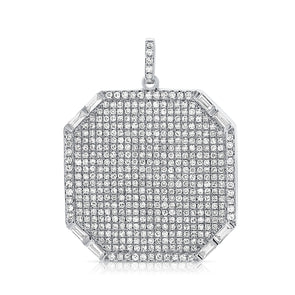14K White Gold Diamond Pave Locket
