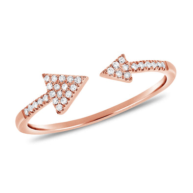 14K Rose Gold Diamond Open Cuff Triangle Ring