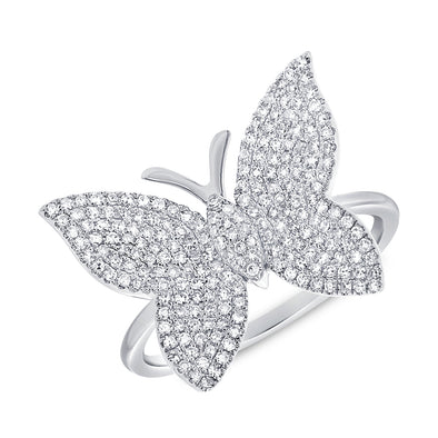 14k White Diamond Large Butterfly Ring