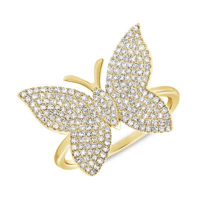 14k Yellow Diamond Large Butterfly Ring