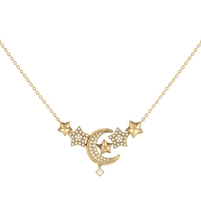 Star Cluster Crescent Necklace in 14 KT Yellow Gold Vermeil on Sterling Silver