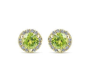 14K Yellow Gold Diamond + Lemon Quartz Stud Earrings