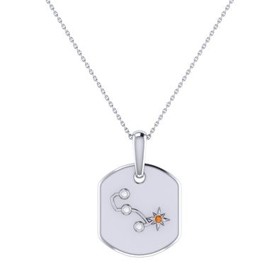 Constellation Tag Pendant Necklace in 925 Sterling Silver