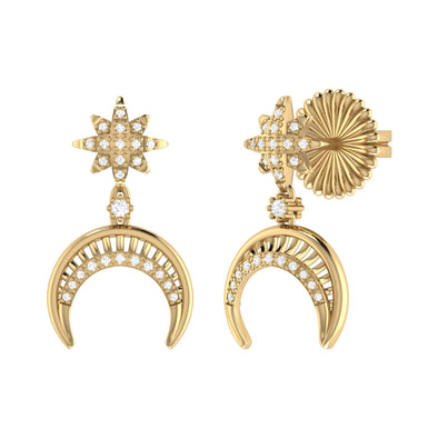 North Star Moon Crescent Earrings in 14 KT Yellow Gold Vermeil on Sterling Silver