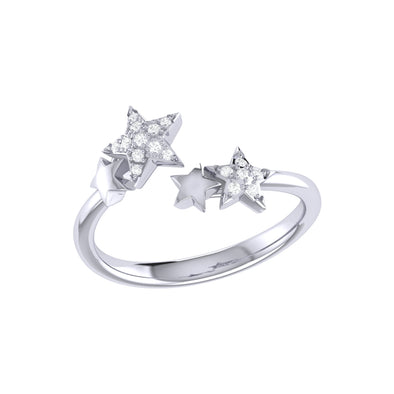 Dazzling Star Couples Open Ring in 925 Sterling Silver