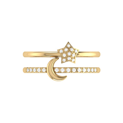 Starlit Crescent Double Band Ring in 14K YG Vermeil