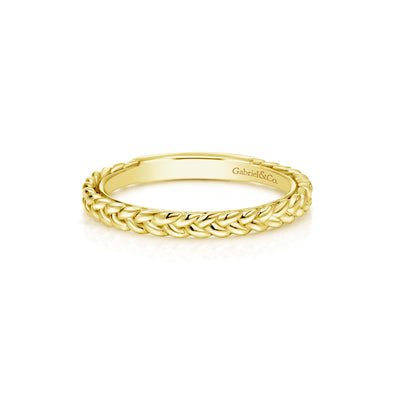 14K Yellow Gold Braided Stackable Band