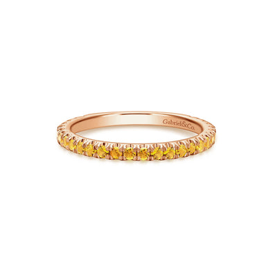 14K Rose Gold Citrine Band