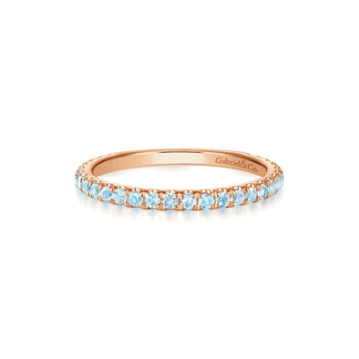 14K Rose Gold Sky Blue Topaz Band