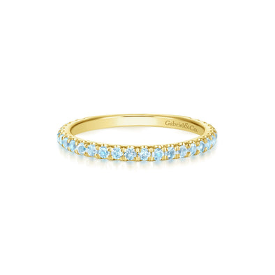 14K Yellow Gold Sky Blue Topaz Band