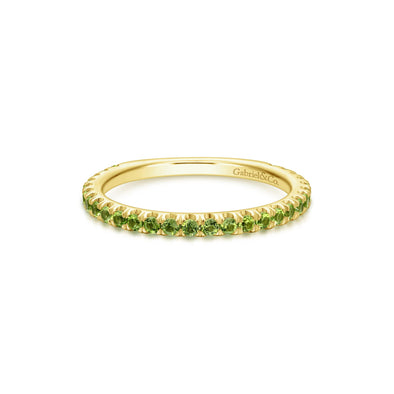 14K Yellow Gold Peridot Band