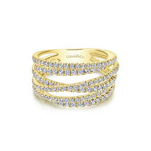 14K Yellow Gold Diamond Bypass Ring