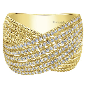 14K Yellow Gold Diamond Rope Multi Row X Ring