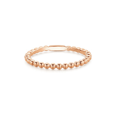 14K Rose Gold Beaded Stackable Band