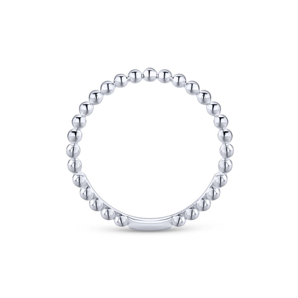 14K White Gold Beaded Stackable Band
