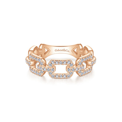 14K Rose Gold Diamond Open Link Ring
