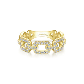 14K Yellow Gold Diamond Open Link Ring