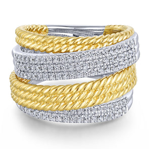 14K Yellow & White Gold Diamond Rope Bypass Ring