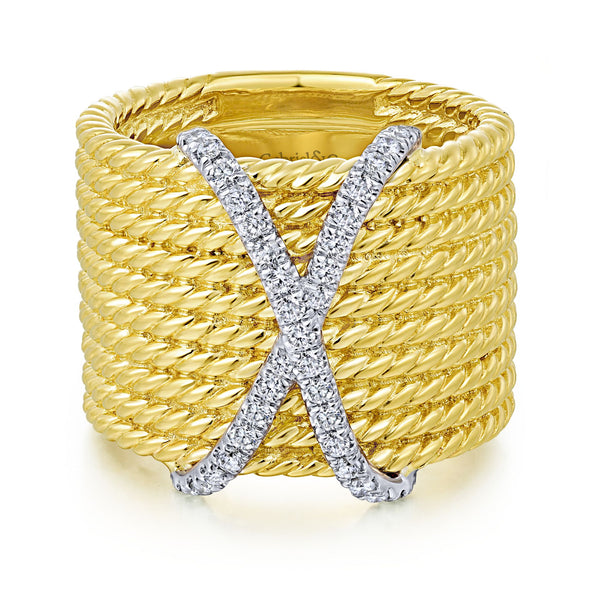 14K Yellow Gold Diamond X Twisted Multi Band Ring