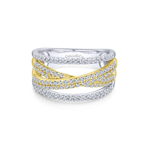 14K White & Yellow Gold Diamond Split Crossover Ring