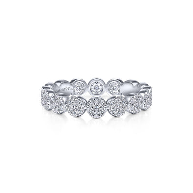 14K White Gold Diamond Disc Eternity Band