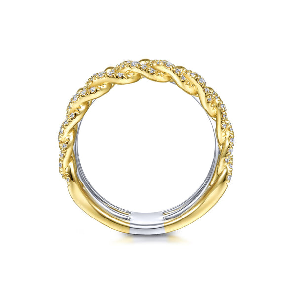 14K White & Yellow Gold Diamond Wide Layered Ring