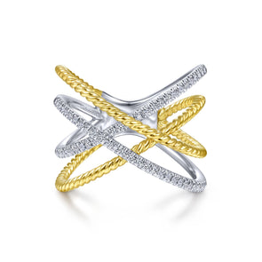 14K White & Yellow Gold Diamond Twisted Crossover Ring