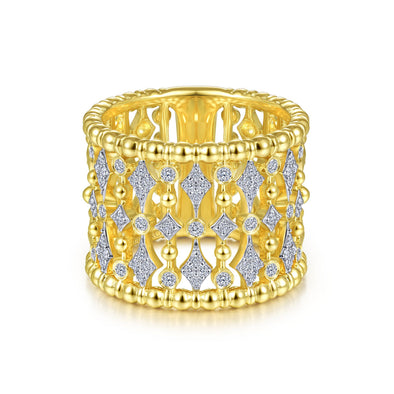 14K Yellow Gold Diamond Beaded Thick Ring