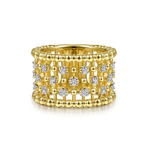 14K Yellow Gold Diamond Beaded Ring