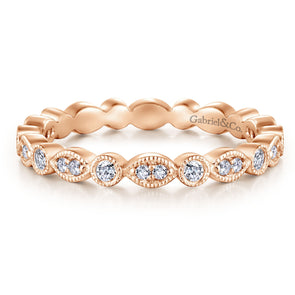 14K Rose Gold Thin Diamond Disc Eternity Band