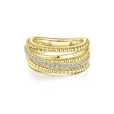 14K Yellow Gold Diamond Beaded Bypass Ring