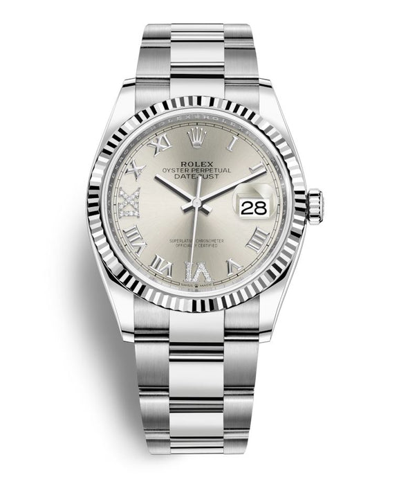 Rolex 36Mm Oystersteel & 18K White Gold Datejust Watch